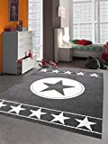 Kinderteppich Spielteppich Kinderzimmer Teppich Sternteppich Sterne Grau Creme