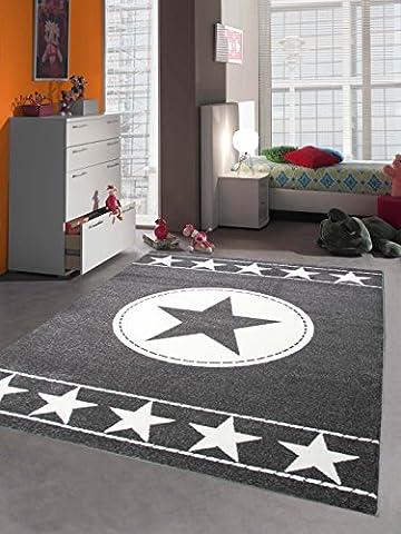 Teppich-Traum Kinderteppich Jugendteppich Kinderzimmerteppich Sternteppich Konturenschnitt Grau Weiß, Größe 80x150
