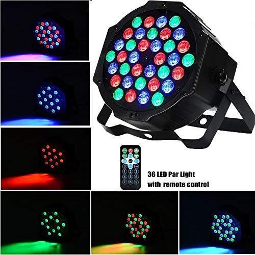 AONCO 36 LED Scheinwerfer Par Strahler, Discolicht, DJ Strobe Light, Bühnenbeleuchtung, Lampe, RBG mixing, 36W, DMX In/Out, 7 DMX Modi, 2 Fernsteuerungen -