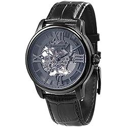 Thomas Earnhshaw – Reloj mecánico de hombre Longitude con esfera gris, mecanismo a la vista y correa de cuero negra, ES-8062-03