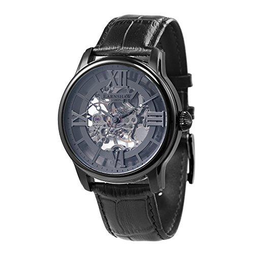 Thomas Earnshaw Longitude ES-8062-03 mechanische Herren-Armbanduhr, graues Zifferblatt mit Skelett-Anzeige, schwarzes Lederarmband