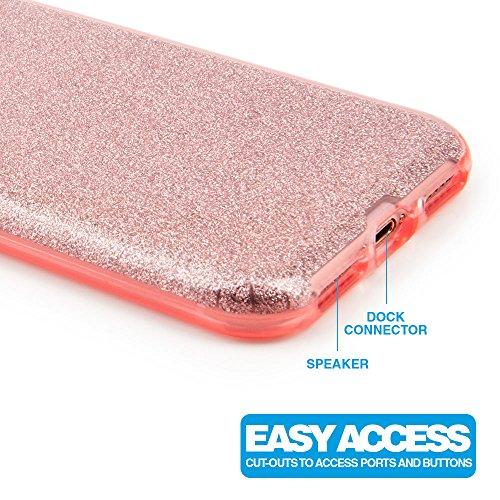 """iPhone 7 Hülle 4,7 Zoll Glamour 3 in 1 TPU Case, Glitzer Schutzhülle mit 3 Schichten für iPhone7 Rosegold 4.7"""" rosegold"""