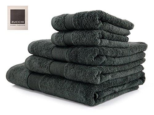 Set asciugamano 5 pezzi zucchi home 1715 asfalto + tavoletta profumo biancheria per armadi by biancocasa