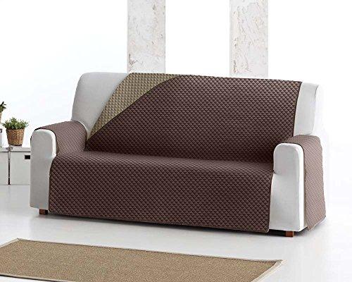 Copridivano salvadivano elena, 4 posti, protezione imbottita per divani reversibile. colore marrone 07