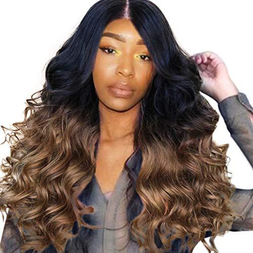 Perruque de Cheveux Longue Synthétique Longs Bouclés Synthétiques Marrons Rock hippie Blonde Bresilienne