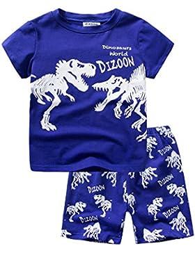 Backbuy Chicos Pijama niños de algodón Verano Ropa de dormir Mangas cortas 2 piezas camiseta Patrón de dinosaurio...
