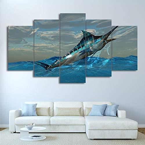 RMRM Leinwand Modular Print Wohnzimmer Dekor Bilder 5 Stücke Springen Marlin Thunfisch Fisch Malerei Wandkunst Sailfish Poster 30x40cm 30x60cm 30x80cm