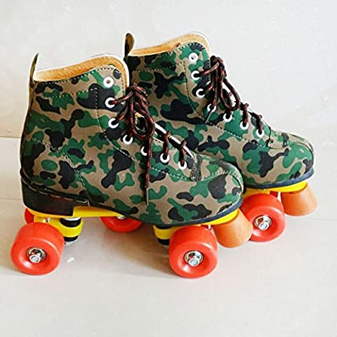 HENGXin @ Pu Camuflaje Double-Row superior Patines, 38 Camo Double-Row patines