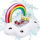 Aufblasbarer Getränkehalter Regenbogen-Wolke Getränkehalter Schwimmende Coasters für Pool Party Wasser-Spaß Strand Spielzeug mit Erwachsene & Kinder Regenbogen-Poolbar (95 x 60 x 55cm)