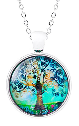 Klimisy - Lebensbaum Kette mit Anhänger - Ein Baum wird gepflanzt für jede verkaufte Halskette - Baum des Lebens Glas-Amulett in - Halskette Mama Medaillon