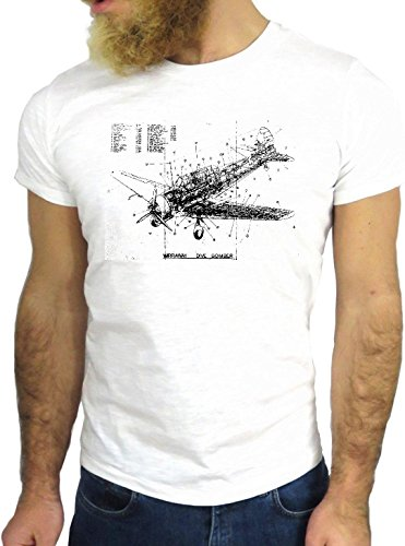 T SHIRT JODE Z3055 PLANE DRAWING FUN ENGINE POWER STRONG FLY FLYING USA TWA GGG24 BIANCA - WHITE