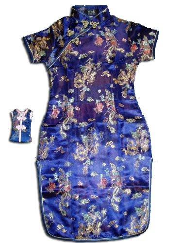 Drachen Chinesischen Kostüm Kindes - Cinda Mädchen Satin Drache und Phönix Chinesische Kleid Blau 80-92