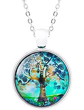 Klimisy - Lebensbaum Kette mit Glas-Anhänger für Damen; elegante Baum des Lebens Halskette mit rundem Bild-Medaillon...