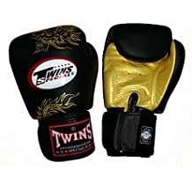 Gemelos Guantes de boxeo Fancy Velcro Correa de muñeca Piel Negro y Dorado Dragón Tamaño 16onzas)