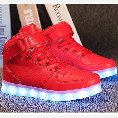 DoGeek Scarpe Led Bambini Scarpe Che Illuminano Bambino Scarpe Luminose Scarpa Bambino Led Bambina la Sportiva Scarpe Con Luci Sneakers Rosso