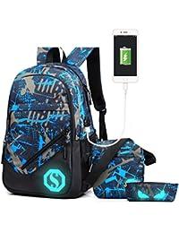 9b324184bb37 Ultra Light Water Resistant Boy School Backpack Set 3 Pieces School Bags  Set for Teenage Boys