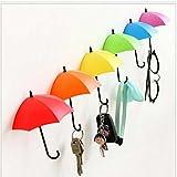 L'autoadesivo della stanza da bagno della cucina della mensola del contenitore del rack del gancio della parete dell'ombrello 6pcs / set, singolo colore del gancio appiccicoso fissato alla parete di figura dell'ombrello dell'ombrello: colore ...