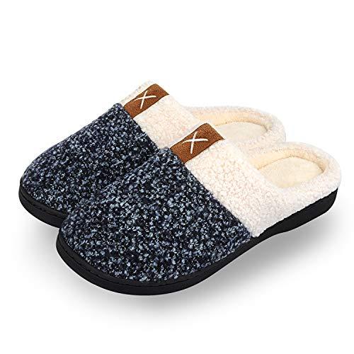 IceUnicorn Winter Hausschuhe Herren Damen Memory Foam Plüsch Wärme Home Rutschfeste Slippers wollähnliche für Drinnen und Draußen(Schwarz,42/43EU)