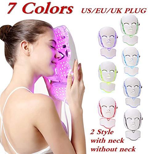 YARUMASK Lichttherapie Maske,Photon LED Maske 7 Farben,Gesicht Hals Anti-Falten Akne Entfernung Photonen-Therapie Hautverjüngungs,für Gesicht Gesicht-Feuchtigkeitspflege,Lichttherapie Maske Schönheit - Kollagen-aktivator