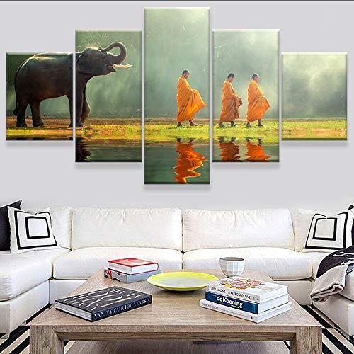 chellonm Moderno Lienzo Sala De Estar Fotos Pintura 5 Paneles Elefantes Y...