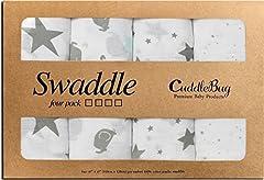 Idea Regalo - CuddleBug - Copertine Swaddle in Mussola - 4 Adorabili Design – Formato Grande 120 x 120 cm – Morbide Copertine in Mussola – Regalo Bebè - Ideale per Set Biancheria Bebè - Unisex – Durata Garantita -