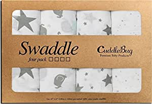 """Muslin Squares and Swaddle Blankets - by CuddleBug - (4 Pack) - Large Muslin Blankets for Newborns - 47"""" x 47"""" - Receiving Blanket Unisex (Soothing Stars)"""