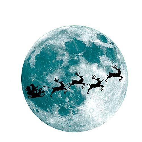 Fliyeong Premium Mond und Wolf leuchtende Wandaufkleber Glow in The Dark Halloween Wandaufkleber