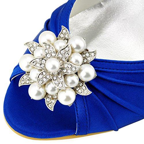 ElegantPark EP2094AE Donna Peep Toe AE01 Asportabile Clips Per Scarpe Tacco Alto Perle Fibbia Raso Scarpe Da Sposa Blu
