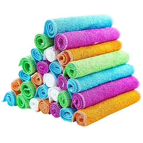 OIQQ Bambuspapierhandtücher Und Putztücher-Sets Super Saugfähige Handtücher Weiche, Strapazierfähige Und Umweltfreundliche Putztücher -