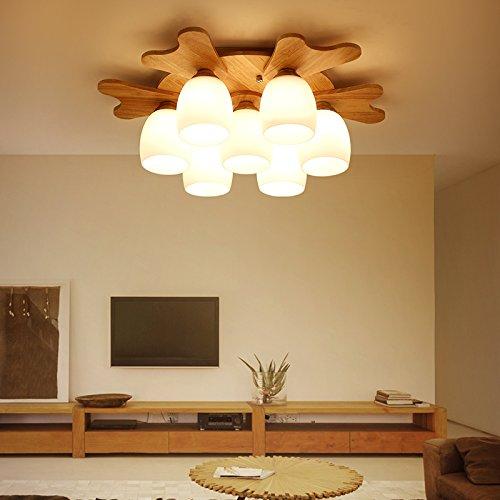 XMZ Kronleuchter hängende Licht Deckenleuchten für Flur, Schlafzimmer, Küche, Kinder RoomChildren Geweih Rundholz 3 Kopf Decke Lampe leuchtet -