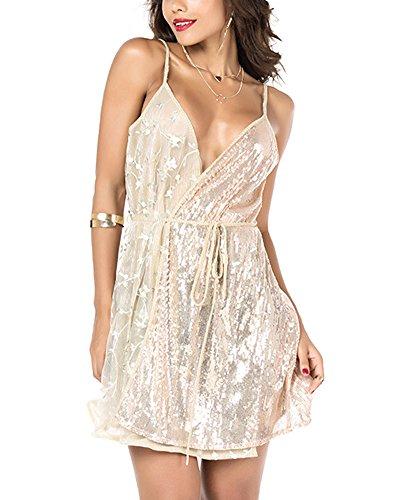 Donne Vestito Corto Senza Maniche V-Collo Abito Partito Cocktail Oro