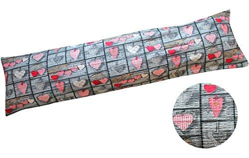 Seersucker Seitenschläferkissen Bezug 40x145cm - Herzen Love Liebe - Öko-Tex 100% Baumwolle Stillkissenbezug (SB-358-1)