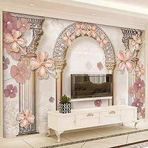 XZCWWH Stile Europeo Roma Colonna Gioiello Perle Foto Murales Carta Da Parati 3D Salotto Tv Divano Luxury Home Decor Panno Impermeabile 3D,200cm(W)×140cm(H)