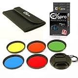 Ex-Pro 77mm Set di 5filtri colore kit con custodia e copriobiettivo