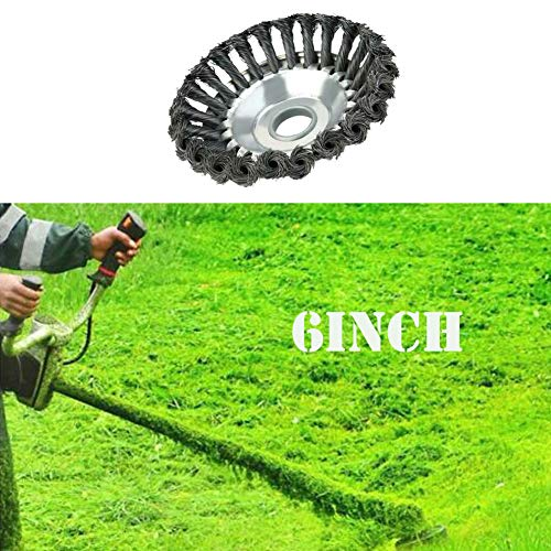 SicoVision Knotted Steel Wire Grass Trimmer Cutter Head, Metal Lawn Mower Weeding Tray for Removing Grass,Rust and Grass. (6 inch)