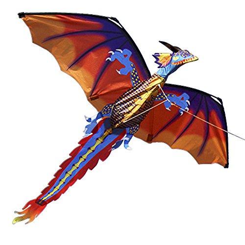 Walmeck Kite - Drachen Kinderdrachen Fliegen für Kinder und Erwachsene Bunt 3D Helles Plaid 100m Einzellinie 140cm x 120cm