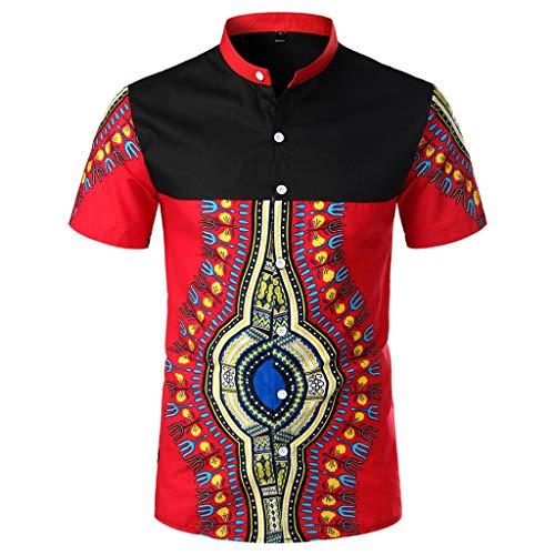 96917ef2f7d16 Magiyard T-Shirt Chemise de Plage Tee Shirt Fashion Chemise de Style  Africain t Shirt Vintage Chemise Pas Cher Hommes Afrique Été T-Shirt Fit  Slim Top Rouge ...