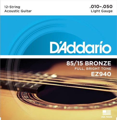 D\'Addario EZ940 Saitensatz für 12-Saiter Akustikgitarren, Bronze 010\'-050\'