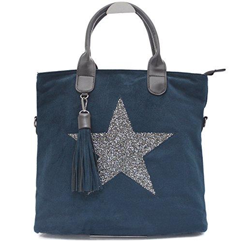 Blaue Nieten-handtasche (Vain Secrets Sternen Shopper Damen Handtasche mit Schulterriemen (Blau))