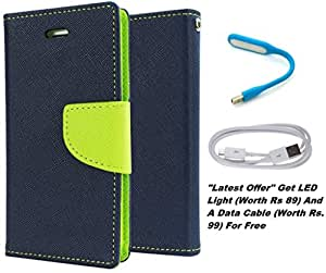 Delkart Book Style Flip Cover With Free Led Light And Data Cable For HTC One A9 (Blue)