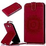 Galaxy S3 Hülle,Galaxy S3 Neo Hülle,ikasus Prägung Floral Spitze Blumen Mandala Muster PU Lederhülle Flip Hülle Handyhülle Ständer Tasche Wallet Case Schutzhülle für Galaxy S3/S3 Neo,Rose Red