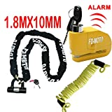 FD-MOTO 1,8 M * 10mm Moto Chaîne Serrure Moto Cadenas Disc Lock + Alarme Disc Lock 110DB