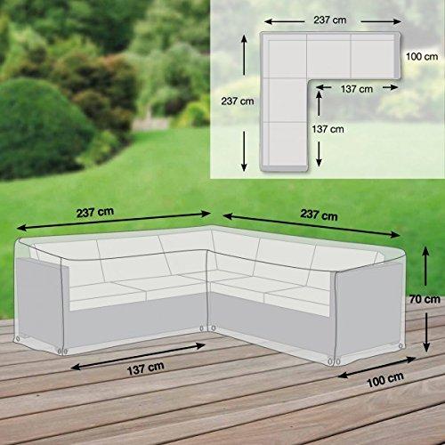 Gartenmöbel Abdeckung / Schutzhülle L-Form - Premium Plus Leicht M (237 x 237 x 70 cm)...