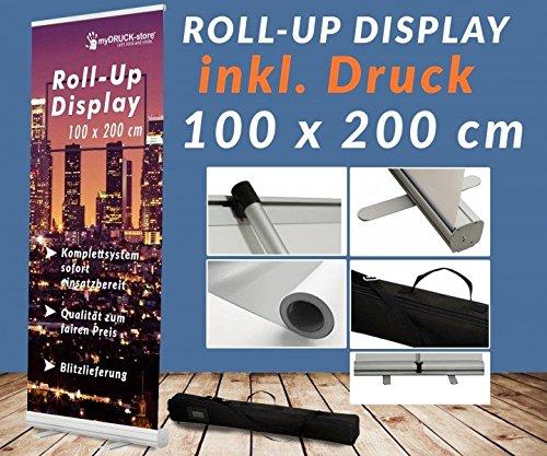 Roll up Display 100x200cm mit Druck Banner Display Werbedisplay Werbeständer Firmendruck Bannerwerbung Aufsteller 12A03, Roll up Größe:100cmx200cm