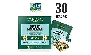 VAHDAM, Sweet Himalayan Detox Green Tea | 30 Tea Bags (Set of 2) | 100% Natural Detox Tea | Green Tea Leaves, Stevia, Turmeric, Shatavari, Cardamom, Ashwagandha | Brew as Hot Tea or Iced Tea