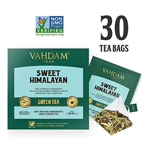 Vahdam, tè verde dolce disintossicante dell'himalaya   30 bustine di tè (set di 2)   tè 100% naturale di disintossicazione   foglie di tè verde, stevia, curcuma, shatavari, cardamomo, ashwagandha