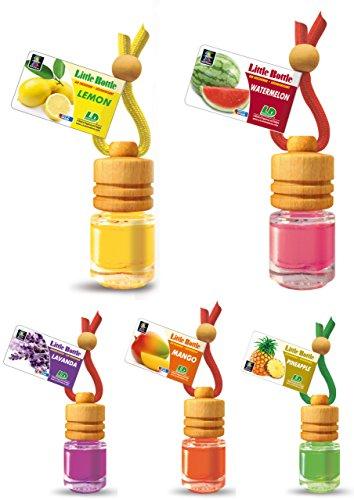 Preisvergleich Produktbild 5 Stück elegante Duftflakons fürs Auto Autoduft Lufterfrischer Topseller Sommermix Mix: Ananas, Lavendel, Lemon, Mango, Wassermelone
