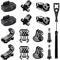 Followsun 15-in-1 Accessory Kit for GoPro Hero 6, 5, 4, Session, 3+, 3, 2, 1 Cameras, Tripod Mount Adapter, Buckle Clip Base Mount, J-Hook Buckle, Long Thumb Screws and Universal Conversion Adapters
