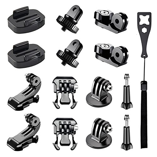 Galleria fotografica Followsun 15-in-1 Accessory Kit for GoPro Hero 6, 5, 4, Session, 3+, 3, 2, 1 Cameras, Tripod Mount Adapter, Buckle Clip Base Mount, J-Hook Buckle, Long Thumb Screws and Universal Conversion Adapters