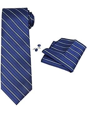OCIA® rayas para hombre corbata de seda Conjunto:corbata + pañuelo bolsillo cuadrado + un par de gemelos + caja...